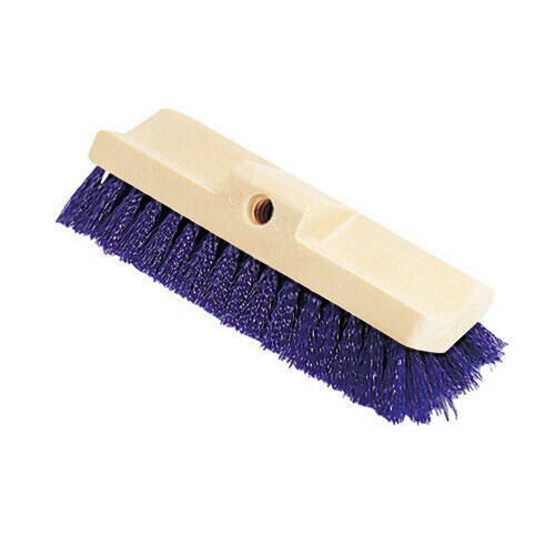 Rubbermaid 10 in. Plastic Bi-Level Deck Scrub Brush w/ Tapered Hole 6337BLU New