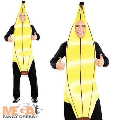 Banana Fruits Adult Fancy Dress Tropical Food Mens Ladies Novelty Costume Outfit (Fruit Lady Costume)