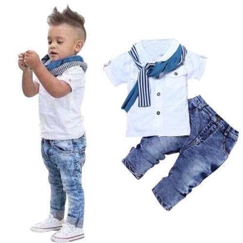 3tlg Baby Kinderkleidung Outfit Set Kurzarm T-Shirt Top + Denim Jeans + Schal
