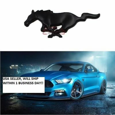 - BLACK Mustang RUNNING HORSE add on GRILL BADGE 3D Metal Front Grille Emblem