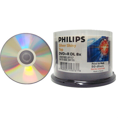 50-pk Philips 8x DVD+R Silver Shiny Double Dual Layer DL 8.5GB Disc DR8Y8B50F/17