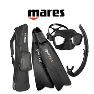 NEW MARES SNORKEL SET ADULT 5.5/6.5 RFVMLSMFS-039BK 209723759 SPEARFISHING FREEDIVING MASK FIN SNORKLING SET BLACK