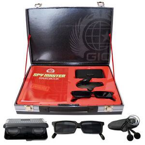 Spy Master Briefcase black Spy kit (binoculars, rear-view glasses, book & more)