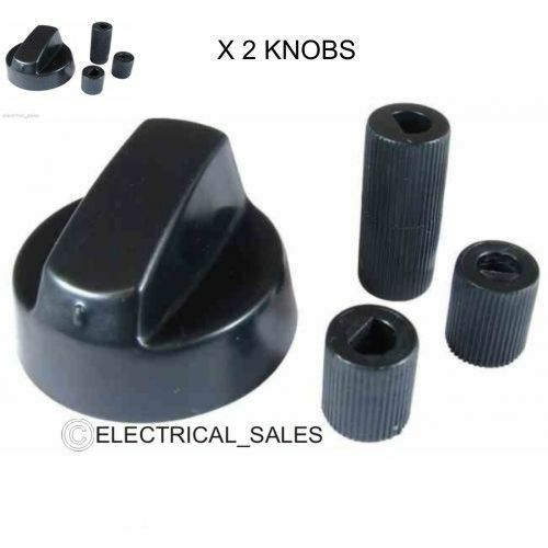 Knobs /& adaptor Pack Pack of 4 Universal Black Control Knobs for All Makes and Models of Oven Cooker /& Hob