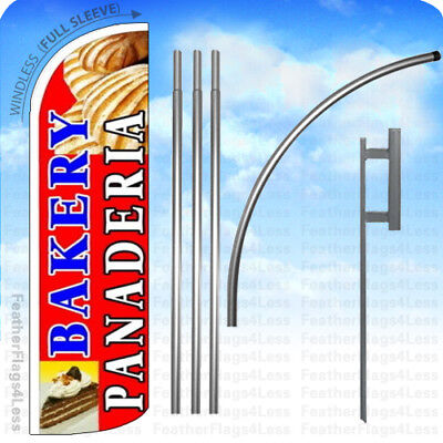 Bakery Panaderia - Windless Swooper Flag Kit Feather Banner Sign 15 Rq