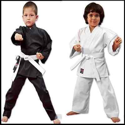New Proforce Lightweight Karate Uniform Gi White Black W  White Belt Adult   Kid