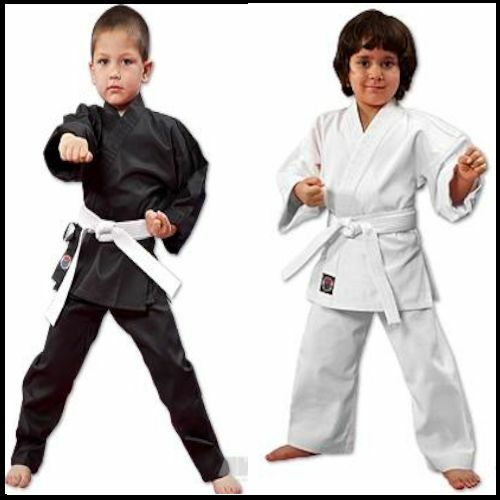 NEW Proforce Lightweight Karate Uniform Gi White Black w/ White Belt ADULT & KID