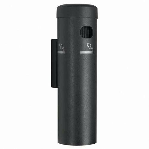 Wall Mounted Cigarette Ashtray Receptacle, Aluminum - Black