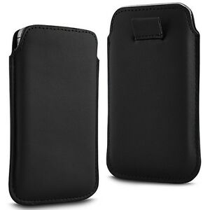 BLACK PULL TAB LEATHER POUCH CASE SKIN COVER FOR SAMSUNG C3350