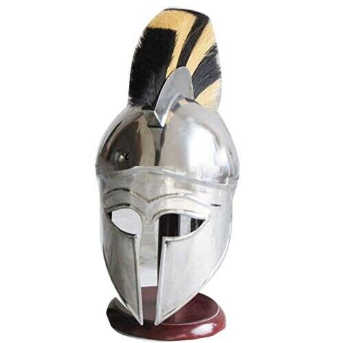 Collectibles Vintage Medieval Natural Helmet Horse Hair YELLOW Plume Replica