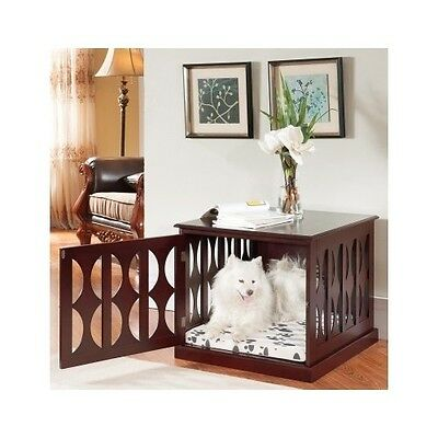 Wooden Dog Kennel Crate End Table Side Furniture Puppy Pad Cage Pet Bed Mahogany