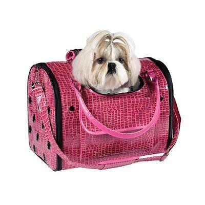 Pet Carrier DOG CAT Tote Handbag Crocodile Texture Pink Small Zack & Zoey