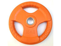 """15KG 2"""" 50MM HOLE TRI GRIP RUBBER COATED PLATES"""