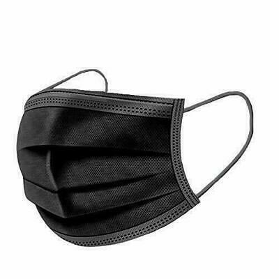 50x Atem Nase Mund Schutz Maske Gummiband Gesichtsmaske Einweg 3-lagig Schwarz