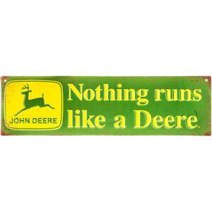 John Deere Metal Sign Advertising Nothing Runs Like a Deere Farm Tractor Barn