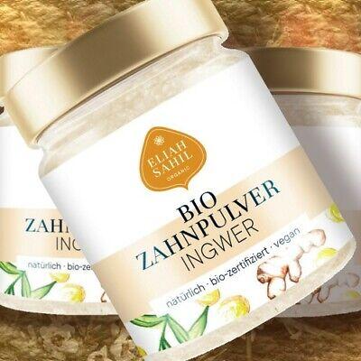 Eliah Sahil Bio-Zahnpulver INGWER XYLIT 45g Pulver Zero-Waste Glas Naturkosmetik