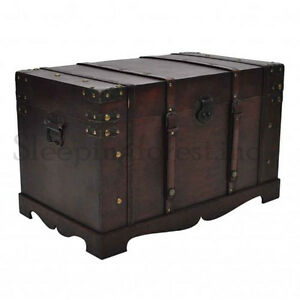 Storage Treasure Chest Box Style Chests Boxes Wooden Trunk Furniture Vintage Ebay
