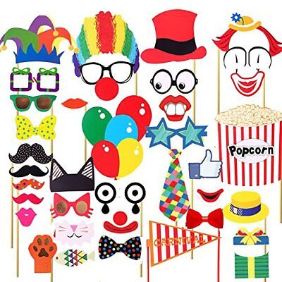 Veewon 36pcs Funny Party Photo Booth Props DIY Kit Red Nose Circus Clown Cosplay