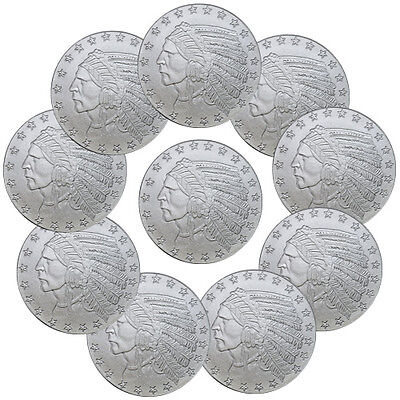 LOT OF 10 - INCUSE INDIAN HEAD 1 OZ SILVER ROUND - HIGHLAND SKU35815
