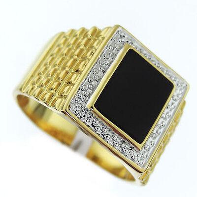 Genuine Jet Black Onyx Gold Plated Mens Silver Pave Tutone Ring - Genuine Onyx Mens Ring