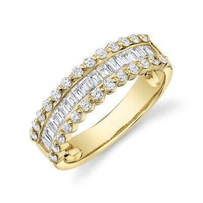 Corte Baguette Diamante Canal Set Anillo 14K Oro Amarillo Mujer Talla 7...