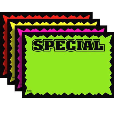 100 Special 2.5 X 3.5 Fluorescent Burst Neon Retail Sale Sign Card 25 Each Color