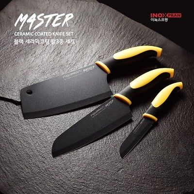 3Pcs SET Sharp Black Ceramic Coated Stainless Steel Chef Kitchen Knife  N_o