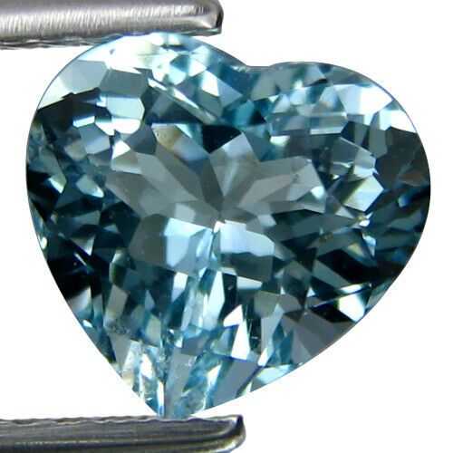 2.05Cts Shimmering Natural Unheated Heart Shape Aquamarine Gemstone From Brazil