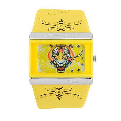 Stylische Tattoo Style Silikon Armbanduhr Tiger Gelb Wasserdicht Damen Uhr
