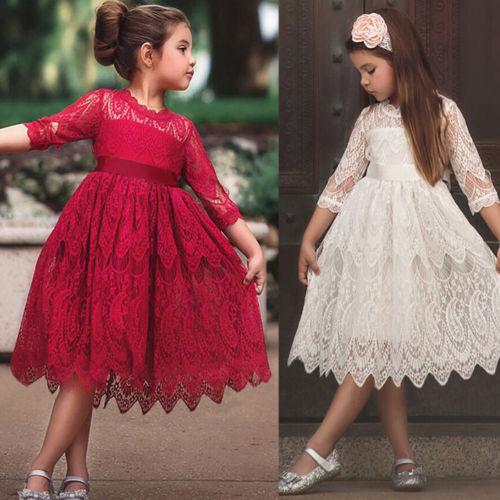 Kinder Mädchen Blumen Prinzessin Spitzenkleid Tutu Tüll Partykleid Brautkleider