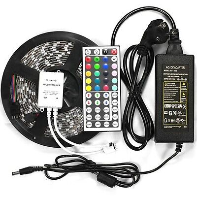 5M SMD RGB 5050 Waterproof Strip light 300 LED + 44 Key IR Remote + 12V 5A power on Rummage