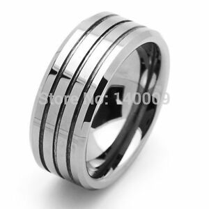 Men's wide tungsten grooved band