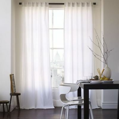 West Elm Cotton Canvas Window Panel Curtains 48  X 96  White New