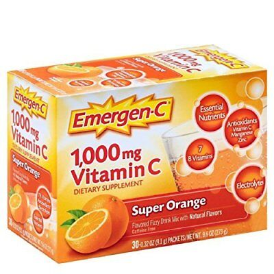 Emergen-C Health and Energy Booster - Super Orange, 30 Ct. Pack of 5 - Emergen C Super Energy Booster