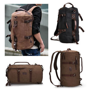 Mens-Vintage-Canvas-backpack-Rucksack-laptop-shoulder-travel-Hiking-Camping-bag