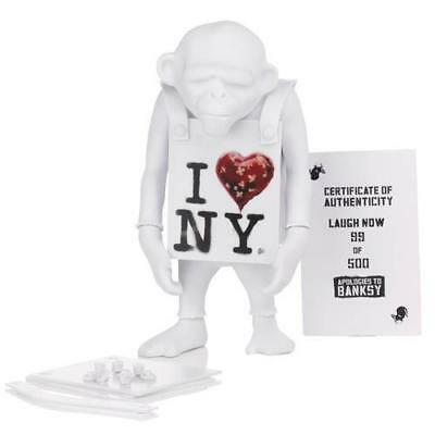 "LAUGH NOW I HEART NEW YORK DIY WHITE 6"" VINYL ART TOY FIGURE APOLOGIES TO BANKSY"