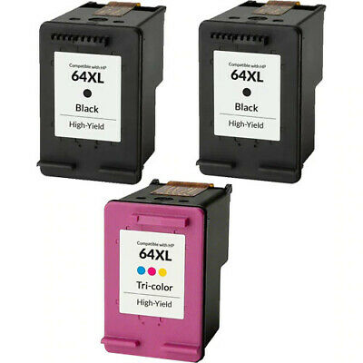 3PK HP 64 XL Black & Color Ink Cartridge for HP Envy Photo 6230 6252 6258 7155 3 Ink Photo Black Cartridge