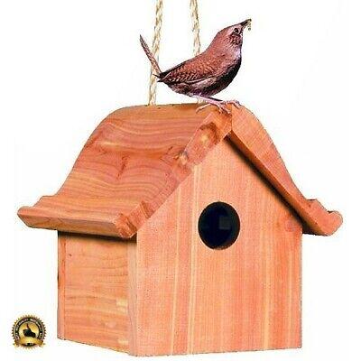 Cedar Bird House Wooden Outdoor Small Wren Nest Box Wood Hanging Feeder (Wren Nest Box)
