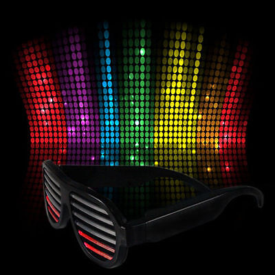 Sound Activated Shutter Flashing LED Multicolor Shades Rave Glasses Black - Shutter Glasses