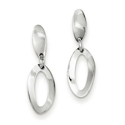 925 Sterling Silver Polished Oval Dangle Post Earrings