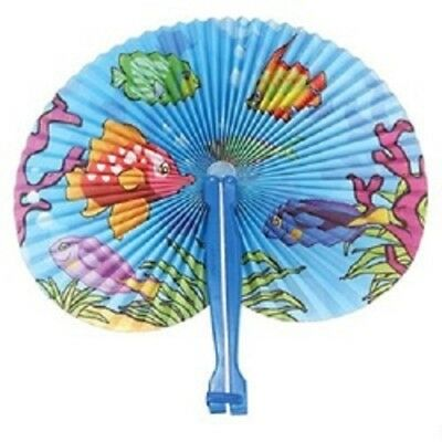 12 TROPICAL FISH FOLDING PAPER FANS , PARTY / WEDDING FAVORS, FREE SHIPPING](Tropical Fans)