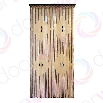 Wooden BEADED DOOR CURTAIN Bamboo Beads Diamond Pattern String Fly Bug Screen