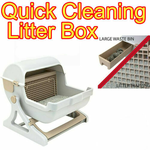 Pet Semi Automatic Cleaning Cat Litter Box Quick Luxury Toilet Kitty Scoop Pan