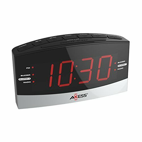 "Axess CKRD3802  AM/FM Digital Radio with Dual Alarm settings,1.8"" Red LED New"