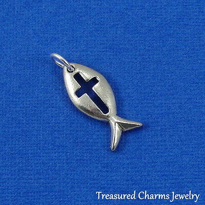 Silver CHRISTIAN ICHTHUS FISH with CROSS Religious CHARM PENDANT ()
