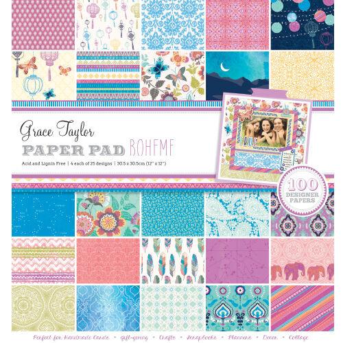 """Grace Taylor Boheme 12"""" x 12"""" Scrapbook Paper Pad 100 Sheets - GS2733"""