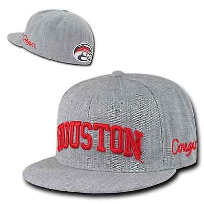 University of Houston UH Cougars NCAA Fitted Flat Bill Baseball Cap Hat Houston Cougars Hat