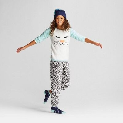 Girls' Pajama Set with Pants Cat & Jack Bleached Aqua Leopard CHECK FOR SIZE