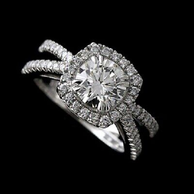 Platinum Cut Down Micro Pave Diamond Split Shank Halo Engagement Ring Mounting ()
