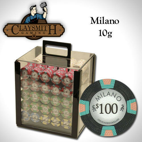 NEW 1000 PC Milano Pure Clay 10 Gram Poker Chips Acrylic Carrier Case Set Custom